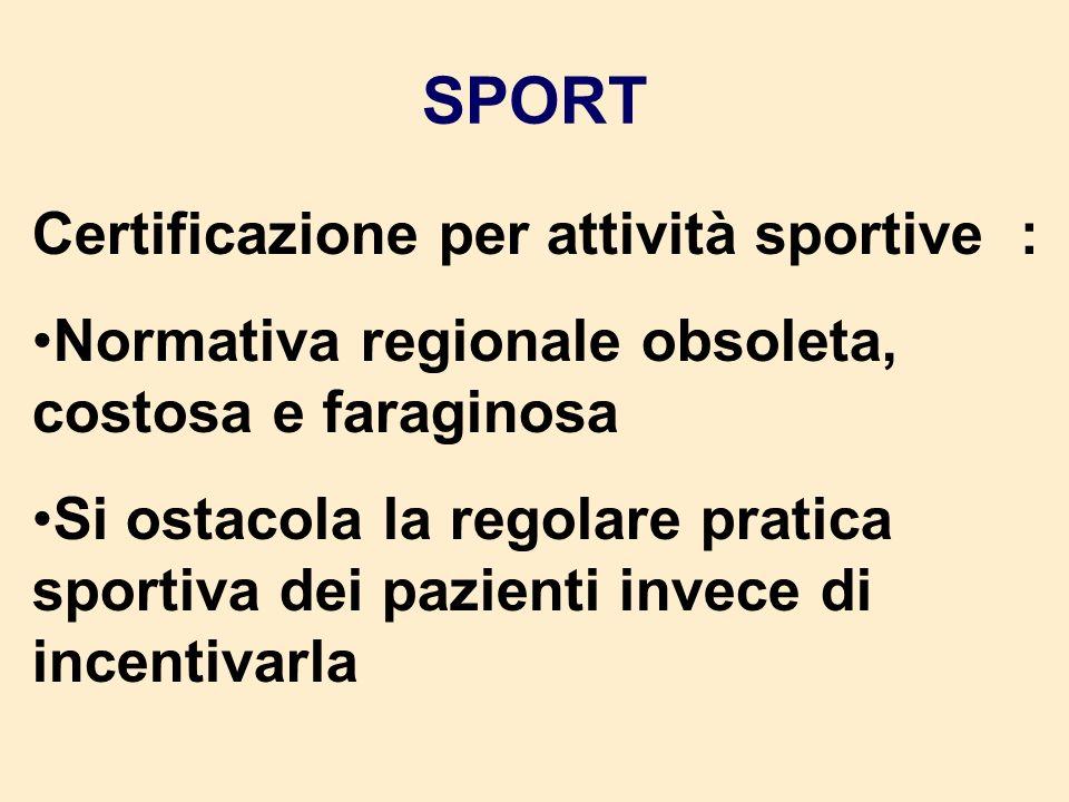 SPORT Certificazione per attività sportive :