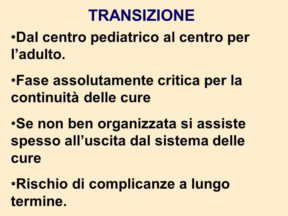 TRANSIZIONE Dal centro pediatrico al centro per l'adulto.