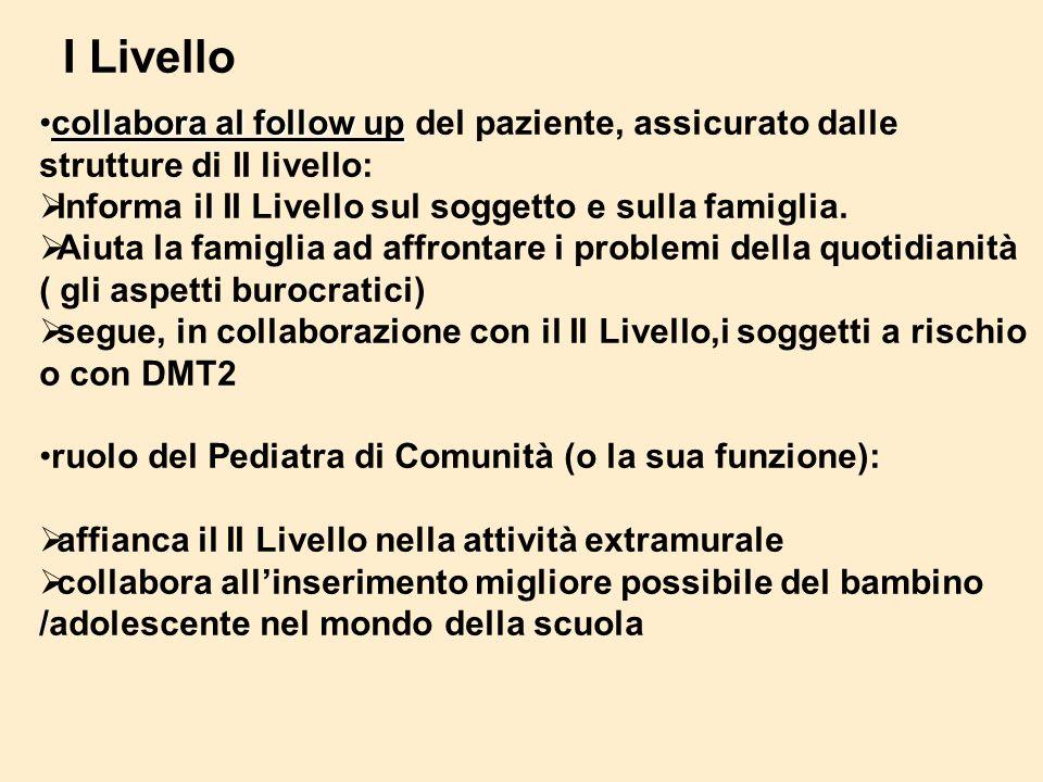 I Livello collabora al follow up del paziente, assicurato dalle strutture di II livello: Informa il II Livello sul soggetto e sulla famiglia.