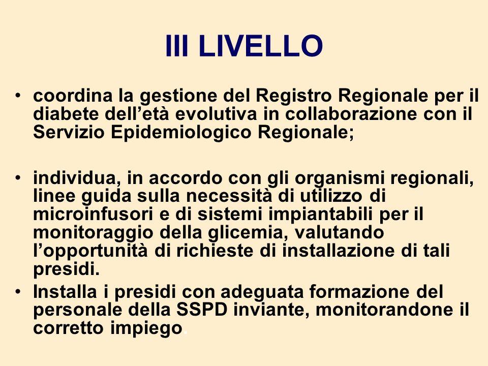III LIVELLO coordina la gestione del Registro Regionale per il diabete dell'età evolutiva in collaborazione con il Servizio Epidemiologico Regionale;