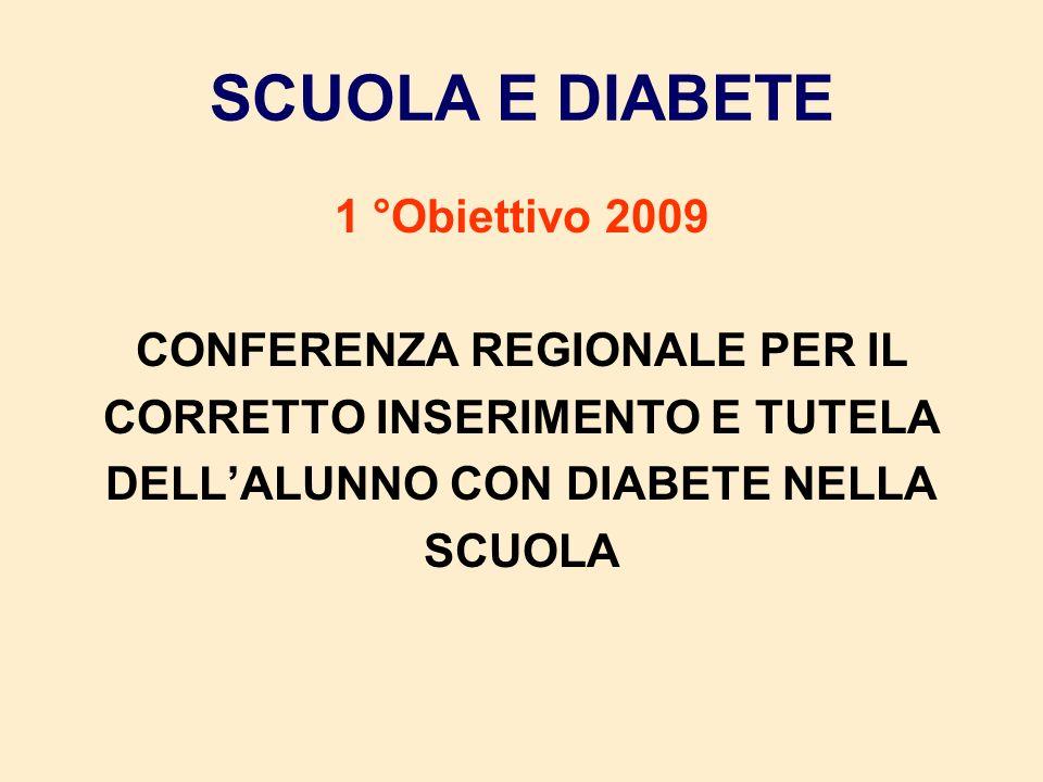 SCUOLA E DIABETE 1 °Obiettivo 2009 CONFERENZA REGIONALE PER IL