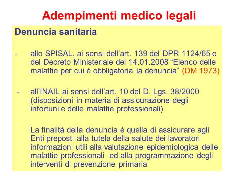 Adempimenti medico legali