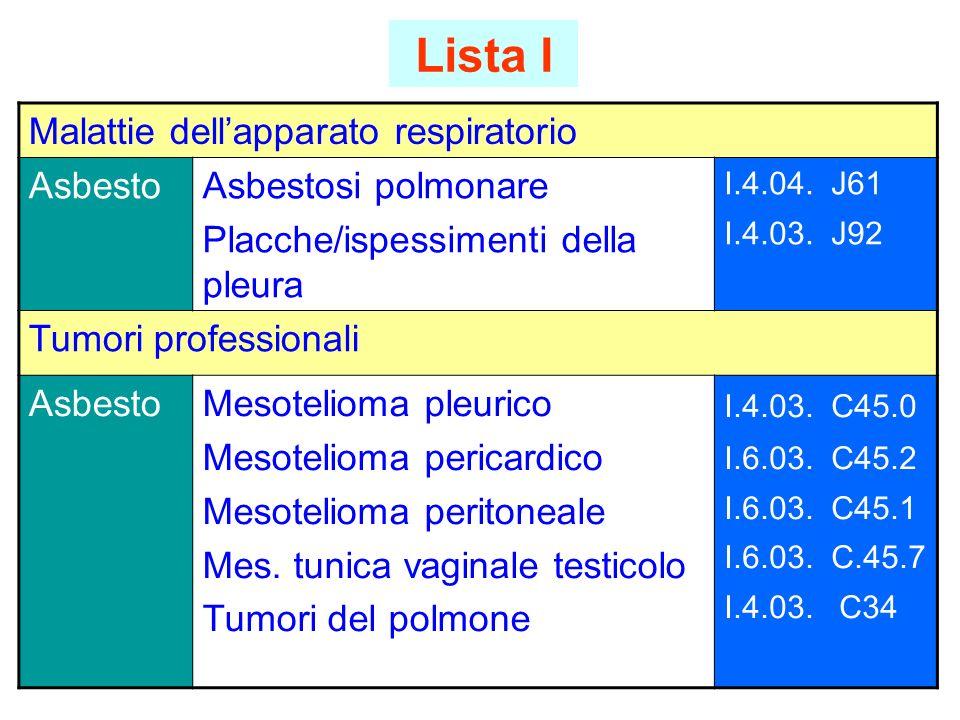 Lista I Malattie dell'apparato respiratorio Asbesto