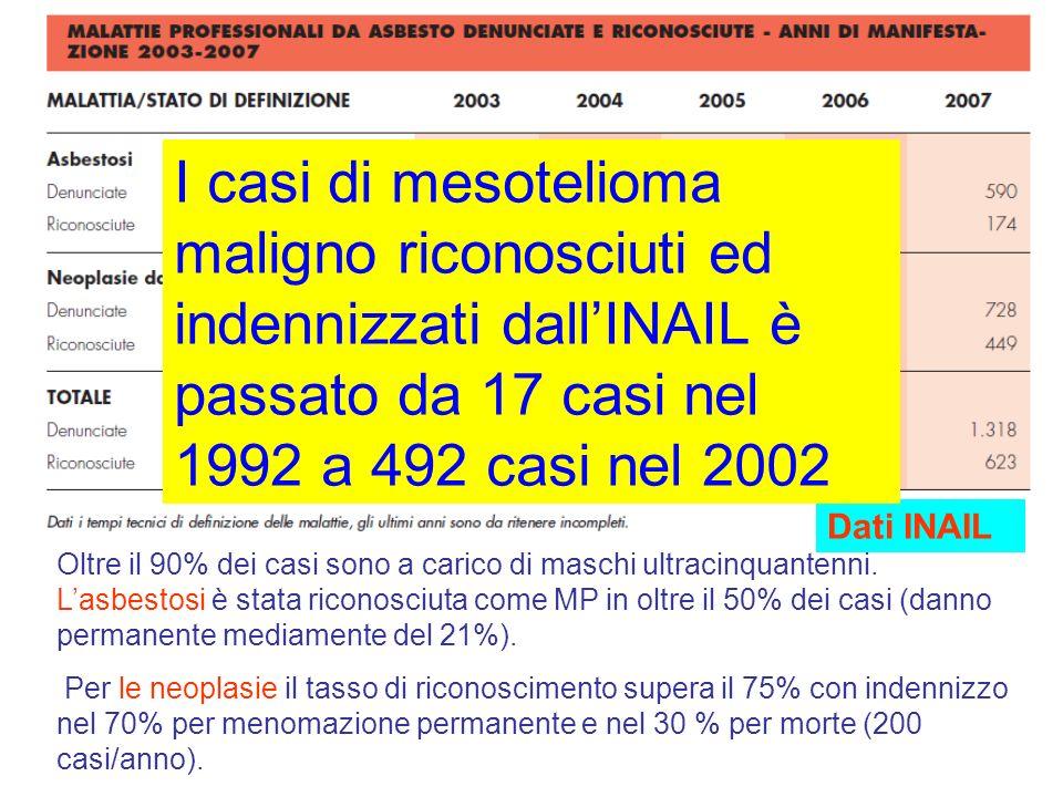 I casi di mesotelioma maligno riconosciuti ed indennizzati dall'INAIL è passato da 17 casi nel 1992 a 492 casi nel 2002
