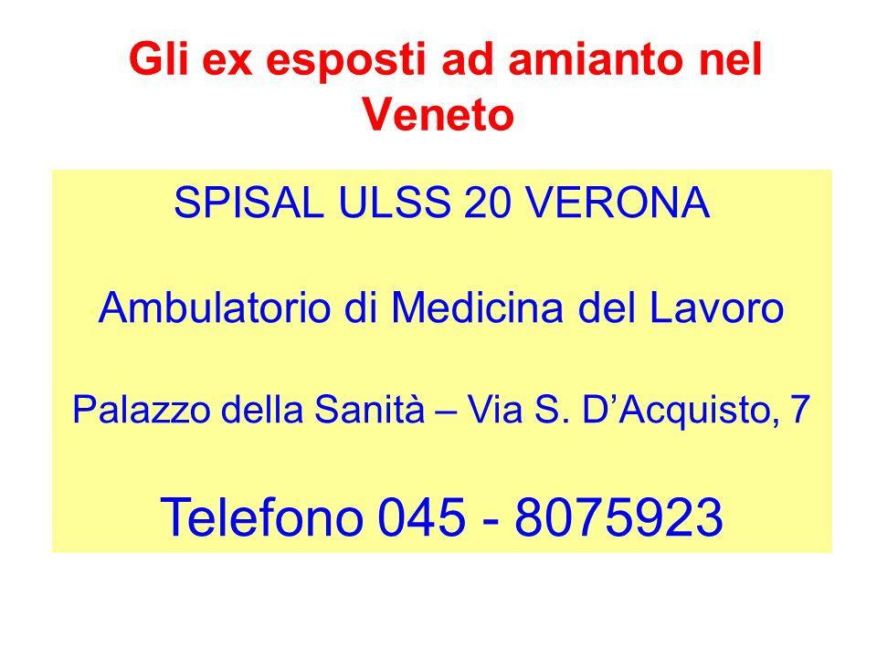 Gli ex esposti ad amianto nel Veneto