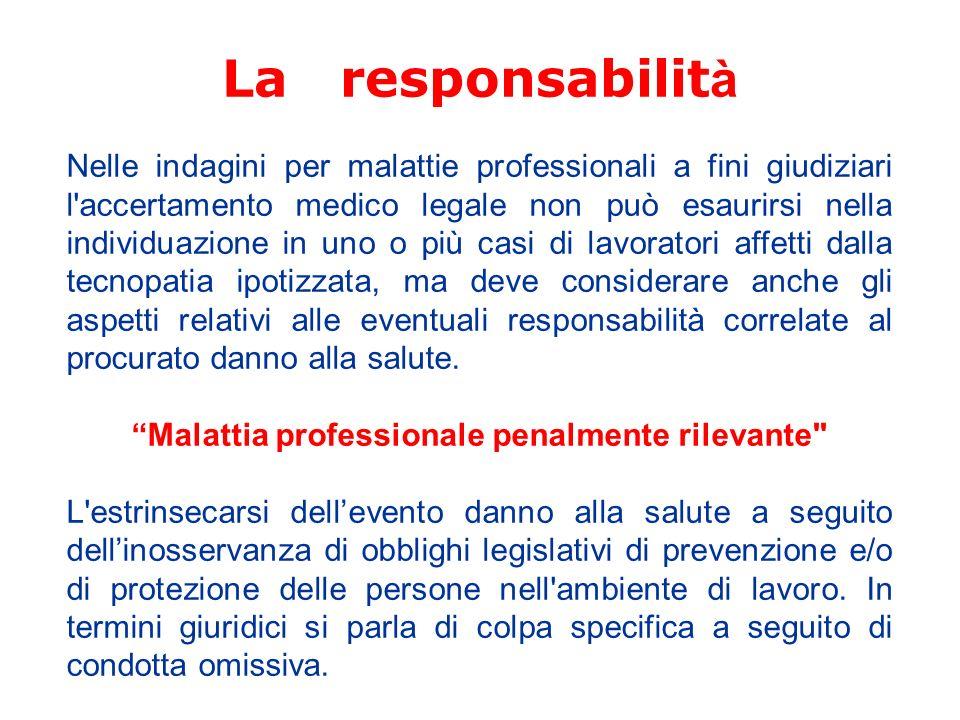 Malattia professionale penalmente rilevante