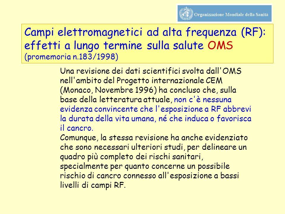 Campi elettromagnetici ad alta frequenza (RF): effetti a lungo termine sulla salute OMS