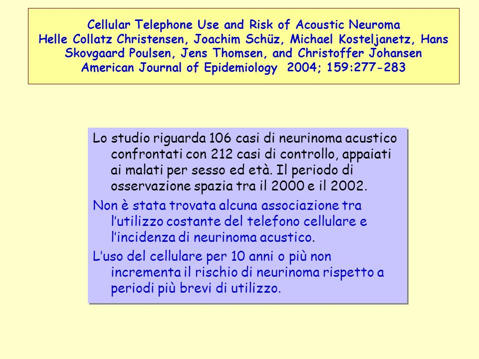 Cellular Telephone Use and Risk of Acoustic Neuroma