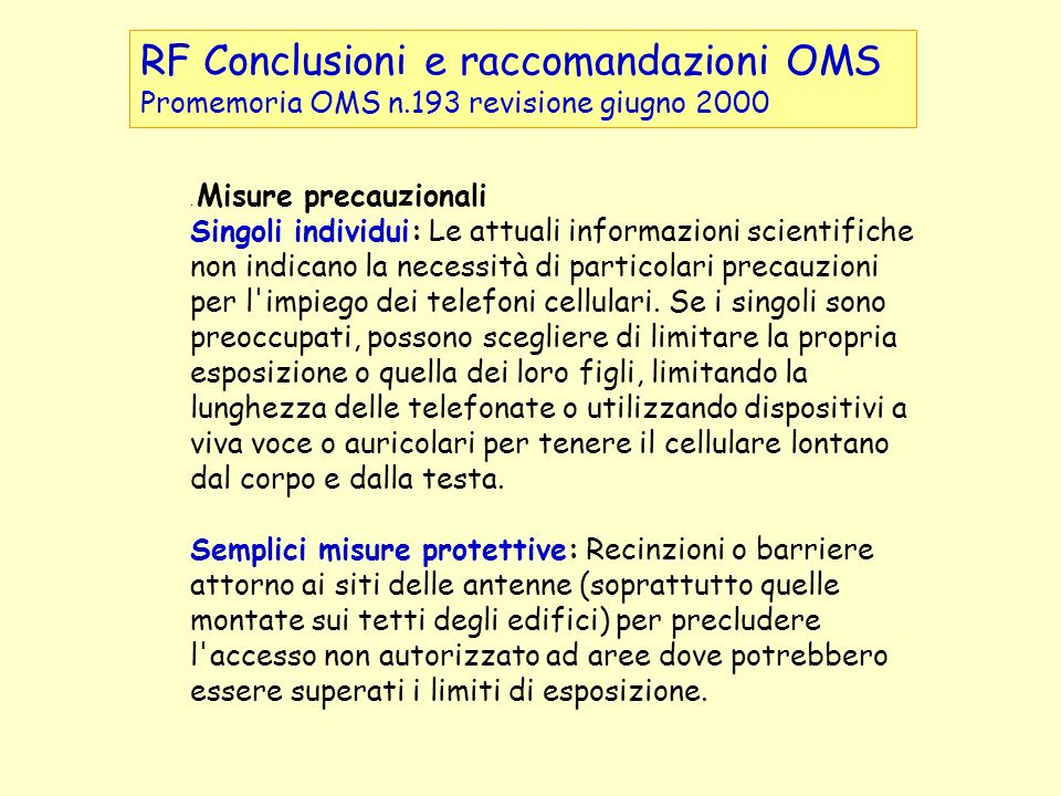 RF Conclusioni e raccomandazioni OMS
