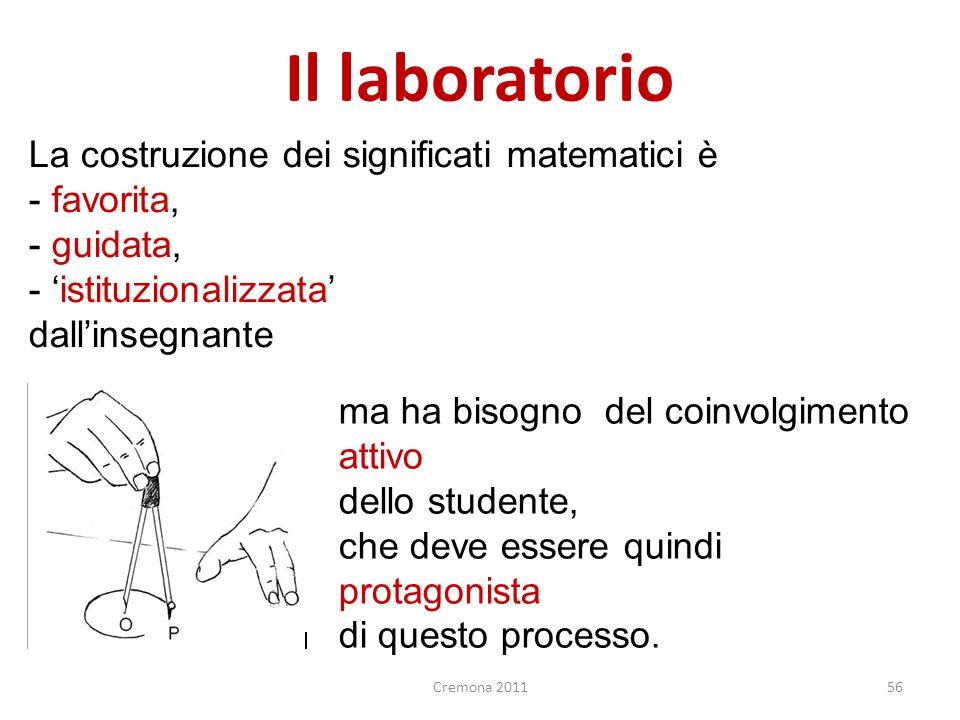 Il laboratorio La costruzione dei significati matematici è favorita,