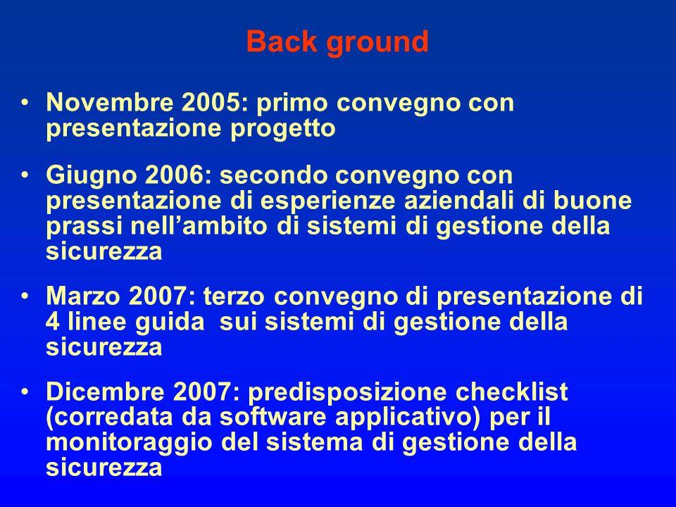 Back ground Novembre 2005: primo convegno con presentazione progetto