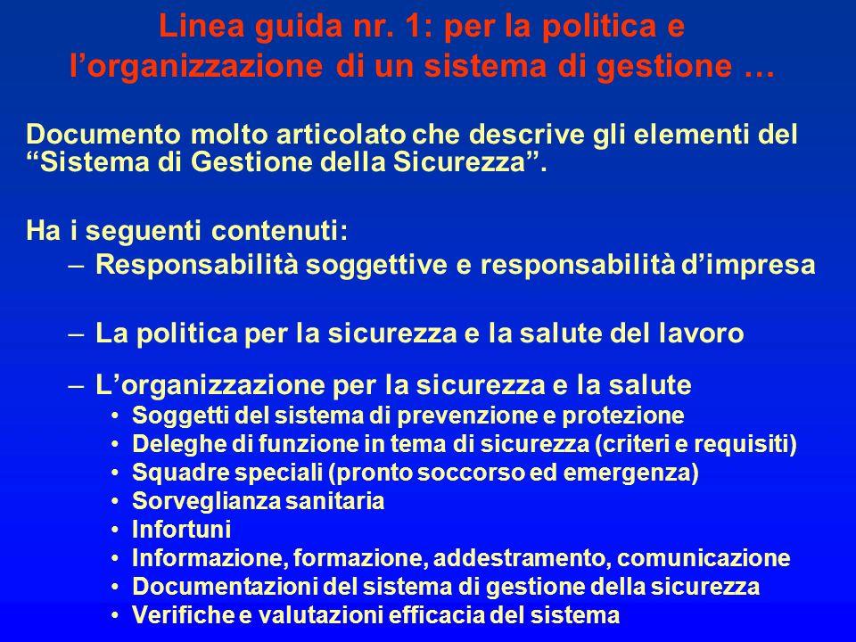 Linea guida nr. 1: per la politica e l'organizzazione di un sistema di gestione …