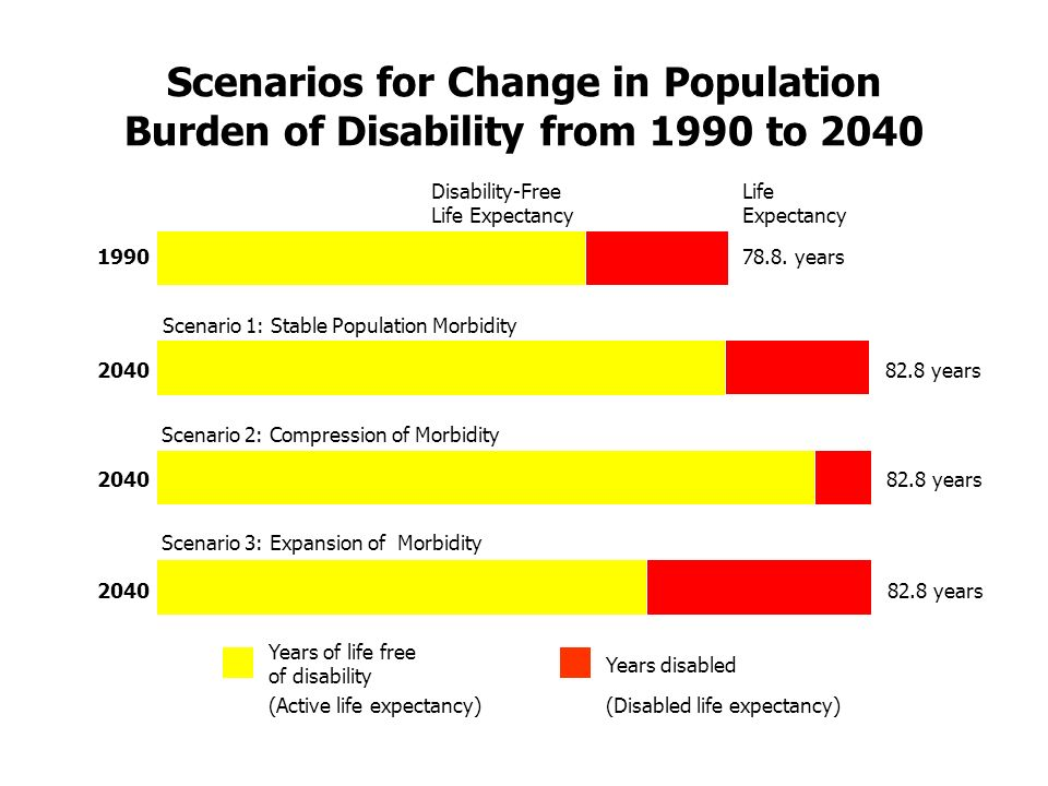 Scenarios for Change in Population Burden of Disability from 1990 to 2040