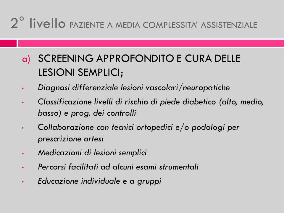 2° livello PAZIENTE A MEDIA COMPLESSITA' ASSISTENZIALE