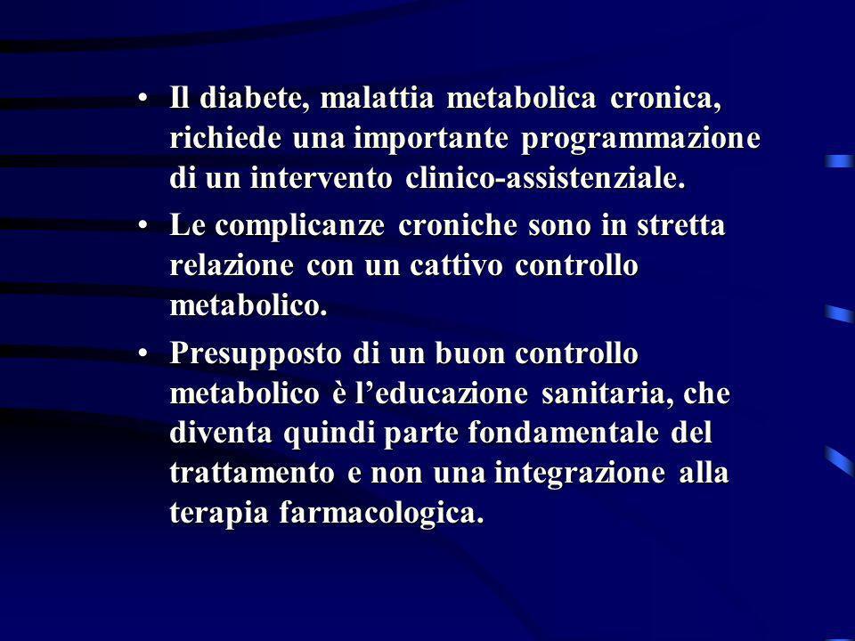 Il diabete, malattia metabolica cronica, richiede una importante programmazione di un intervento clinico-assistenziale.