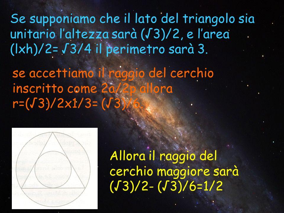 Se supponiamo che il lato del triangolo sia unitario l'altezza sarà (√3)/2, e l'area (lxh)/2= √3/4 il perimetro sarà 3.