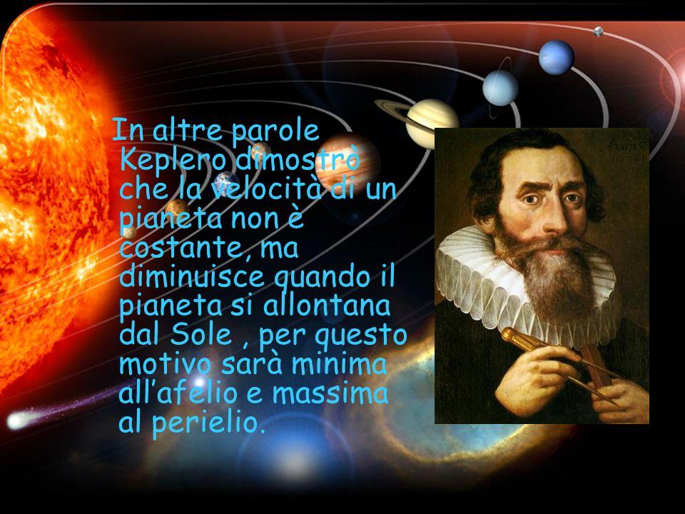 In altre parole Keplero dimostrò che la velocità di un pianeta non è costante, ma diminuisce quando il pianeta si allontana dal Sole , per questo motivo sarà minima all'afelio e massima al perielio.