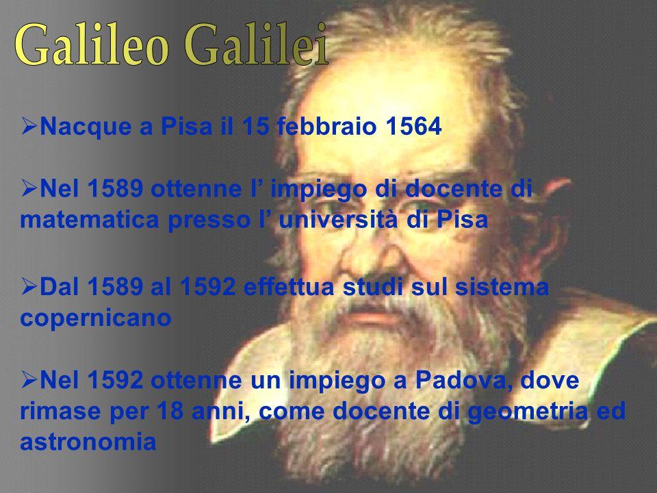 Galileo Galilei Nacque a Pisa il 15 febbraio 1564