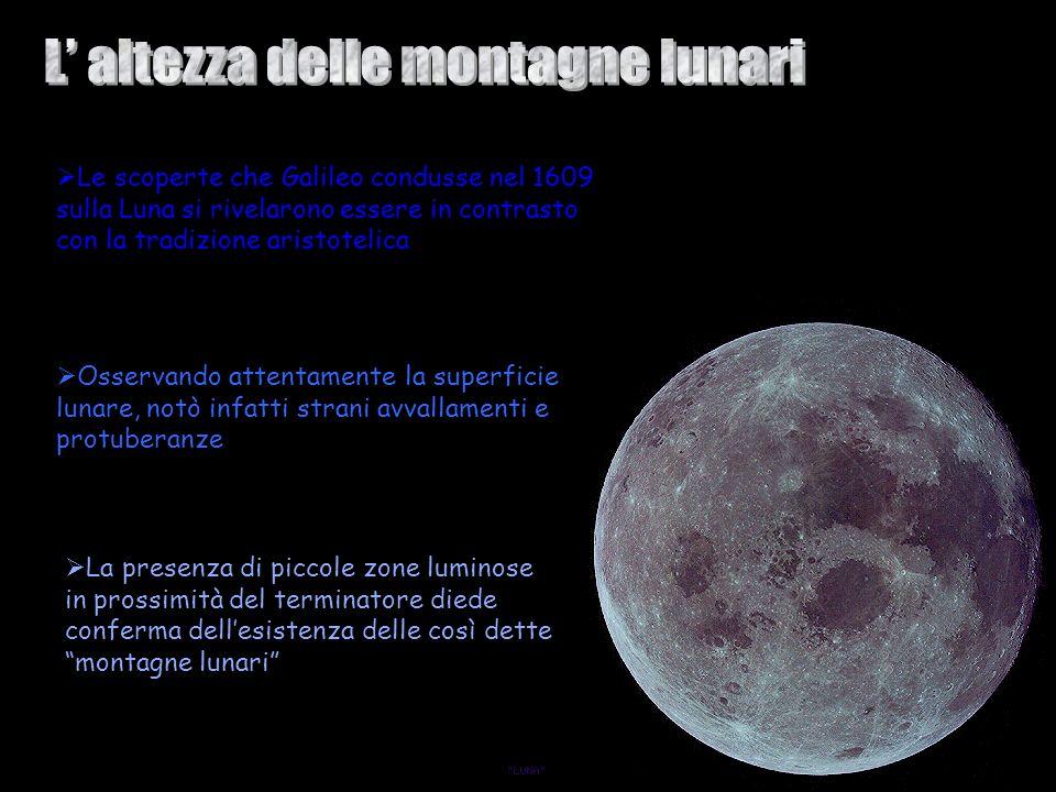 L' altezza delle montagne lunari