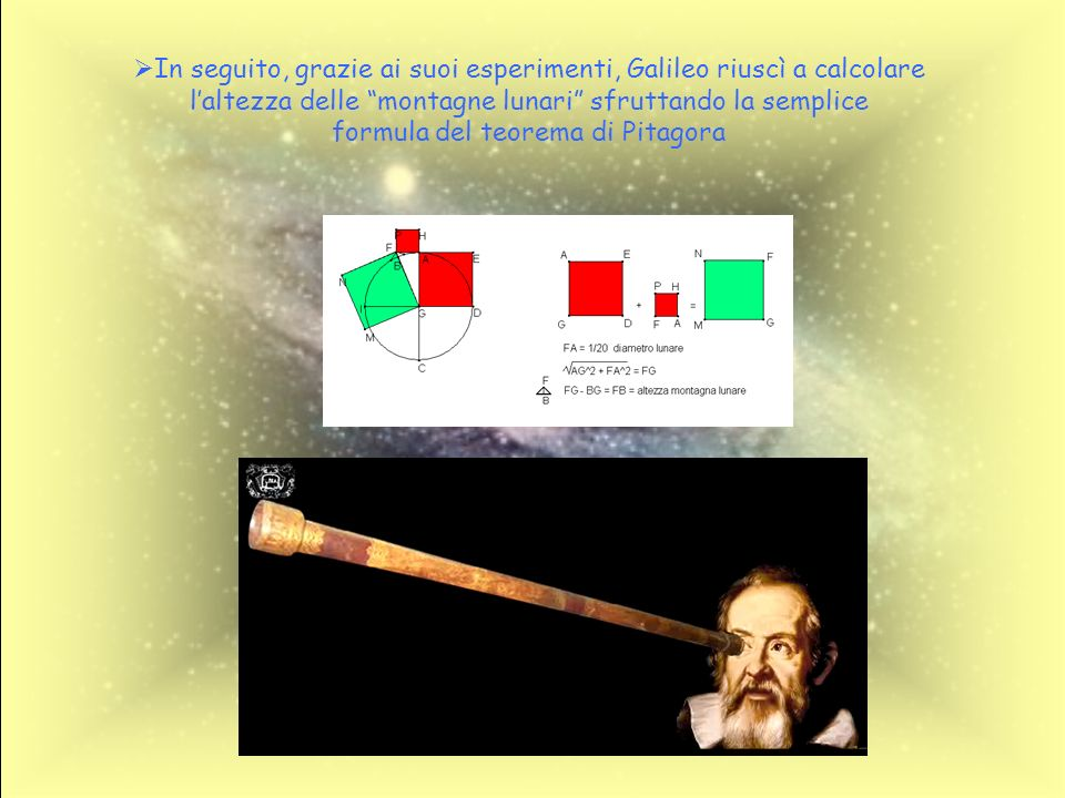 In seguito, grazie ai suoi esperimenti, Galileo riuscì a calcolare l'altezza delle montagne lunari sfruttando la semplice formula del teorema di Pitagora