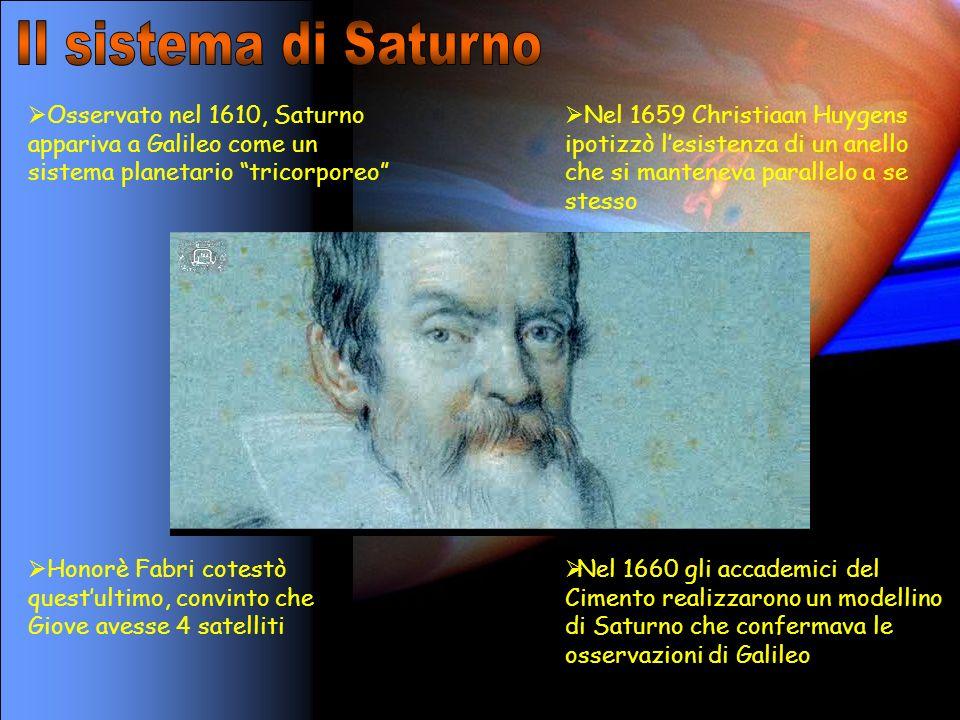 Il sistema di Saturno Osservato nel 1610, Saturno appariva a Galileo come un sistema planetario tricorporeo