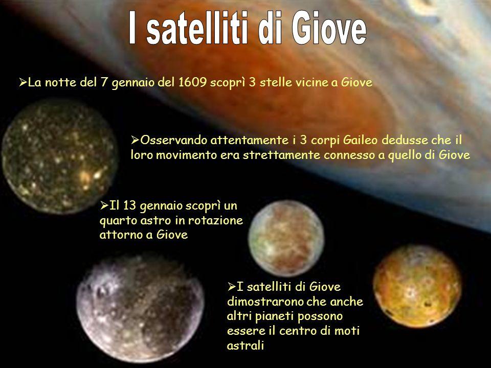 I satelliti di Giove La notte del 7 gennaio del 1609 scoprì 3 stelle vicine a Giove.