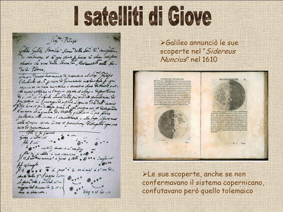 I satelliti di Giove Galileo annunciò le sue scoperte nel Sidereus Nuncius nel 1610.