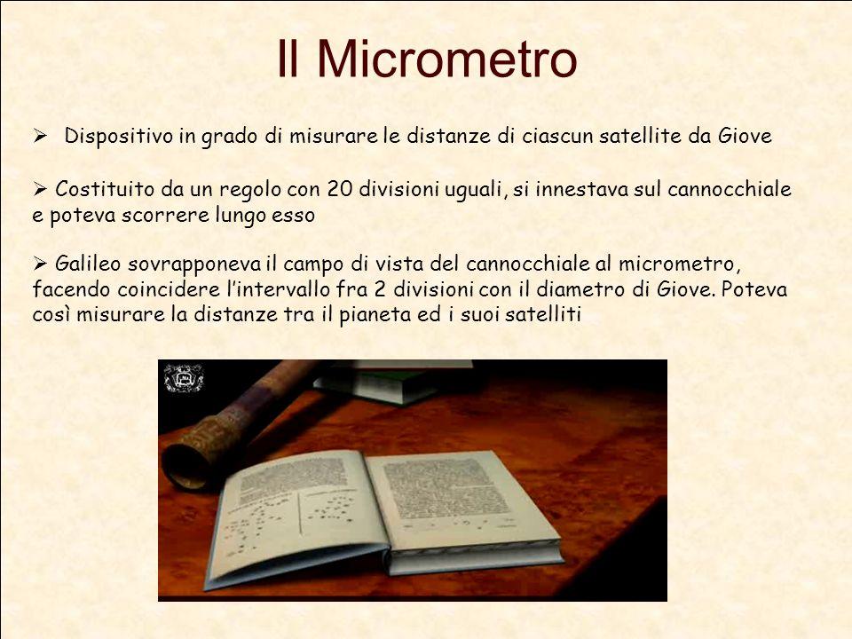 Il Micrometro Dispositivo in grado di misurare le distanze di ciascun satellite da Giove.