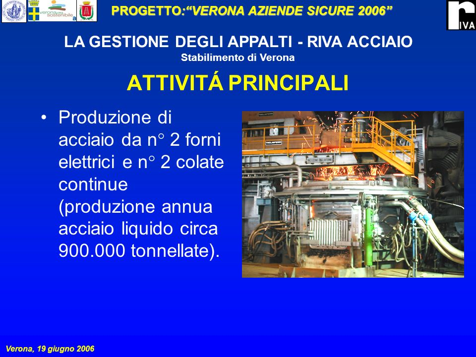 ATTIVITÁ PRINCIPALI Produzione di acciaio da n° 2 forni elettrici e n° 2 colate continue (produzione annua acciaio liquido circa 900.000 tonnellate).