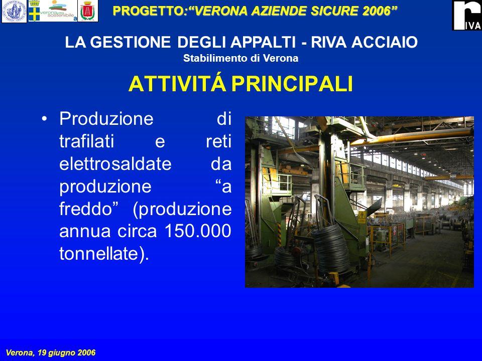 ATTIVITÁ PRINCIPALI Produzione di trafilati e reti elettrosaldate da produzione a freddo (produzione annua circa 150.000 tonnellate).