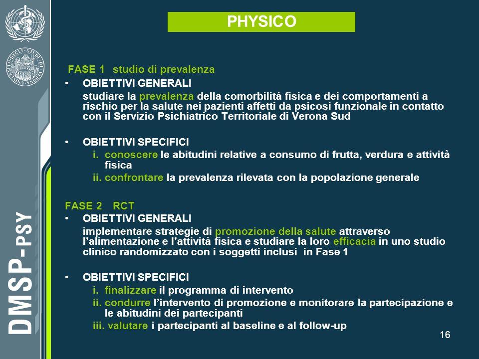 PHYSICO FASE 1 studio di prevalenza OBIETTIVI GENERALI