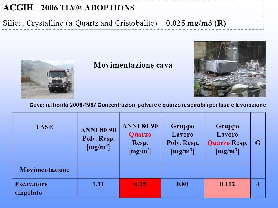 ACGIH 2006 TLV® ADOPTIONS Silica, Crystalline (a-Quartz and Cristobalite) 0.025 mg/m3 (R) Movimentazione cava.