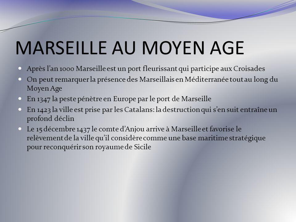 MARSEILLE AU MOYEN AGE Après l'an 1000 Marseille est un port fleurissant qui participe aux Croisades.