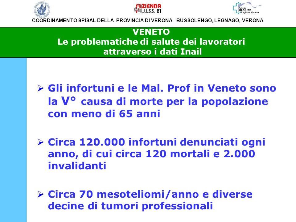 Circa 70 mesoteliomi/anno e diverse decine di tumori professionali