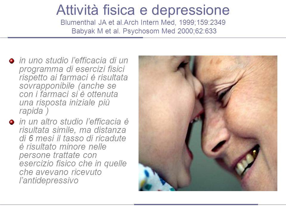 Attività fisica e depressione Blumenthal JA et al