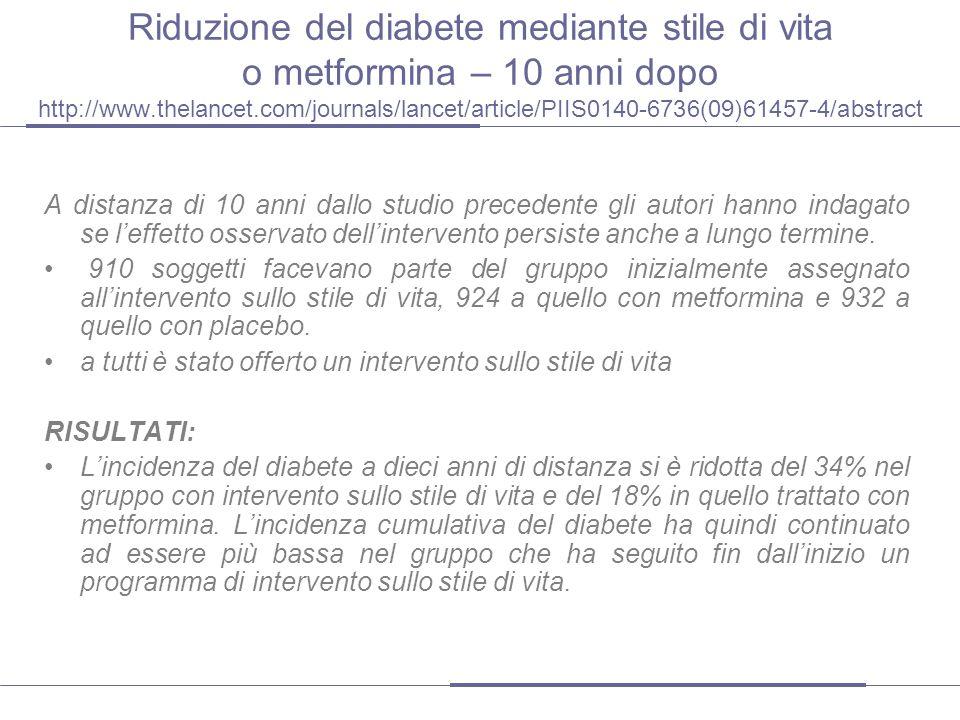 Riduzione del diabete mediante stile di vita o metformina – 10 anni dopo http://www.thelancet.com/journals/lancet/article/PIIS0140-6736(09)61457-4/abstract
