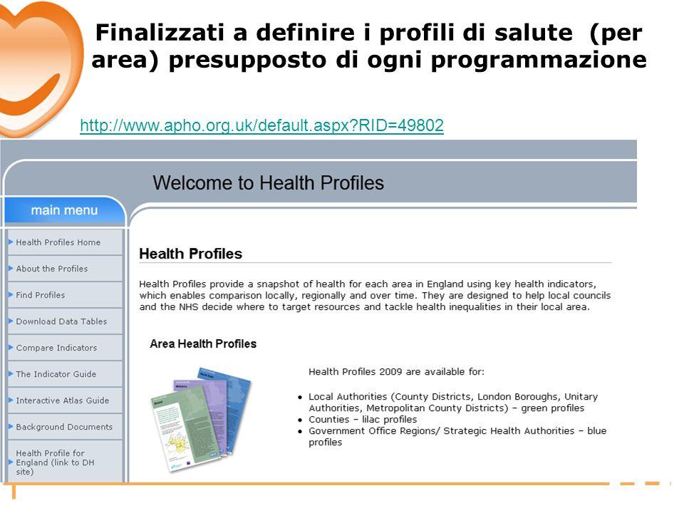 Finalizzati a definire i profili di salute (per area) presupposto di ogni programmazione
