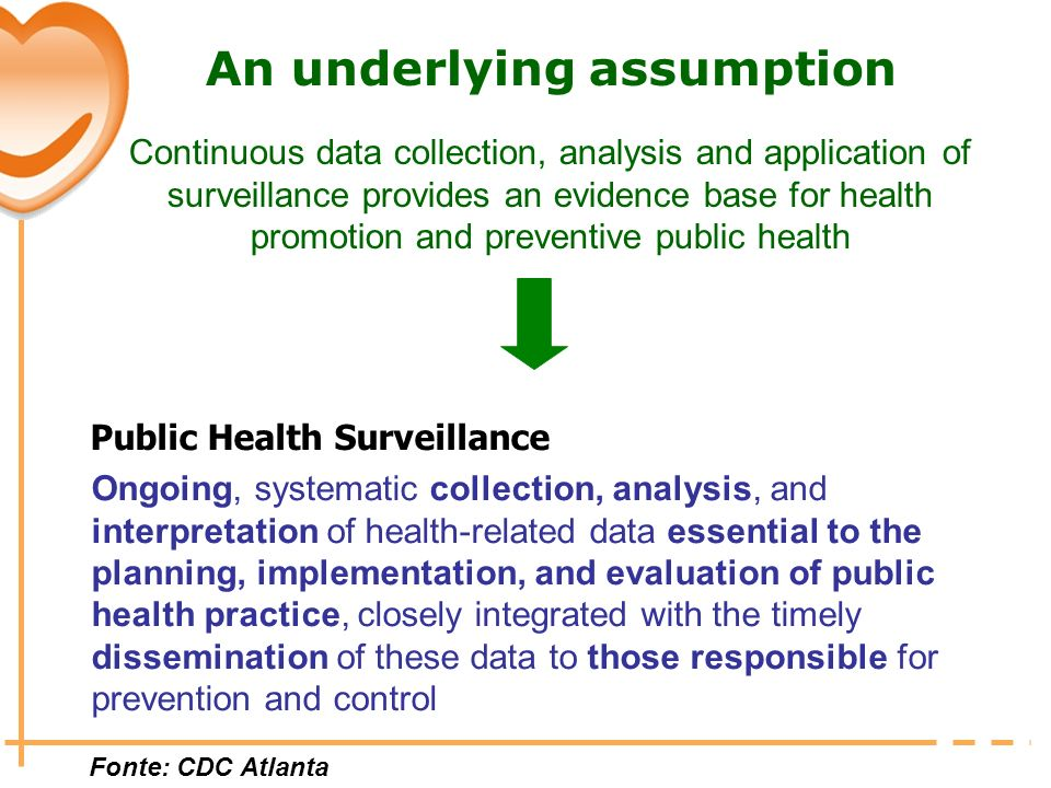 An underlying assumption Continuous data collection, analysis and application of surveillance provides an evidence base for health promotion and preventive public health
