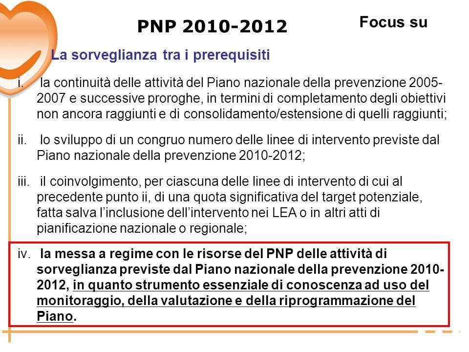 PNP 2010-2012 Focus su La sorveglianza tra i prerequisiti
