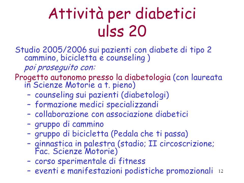 Attività per diabetici ulss 20