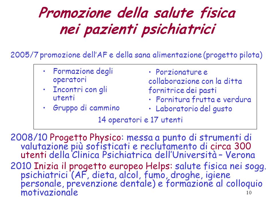Promozione della salute fisica nei pazienti psichiatrici
