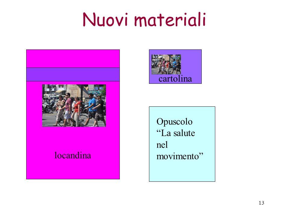 Nuovi materiali locandina cartolina Opuscolo La salute nel movimento