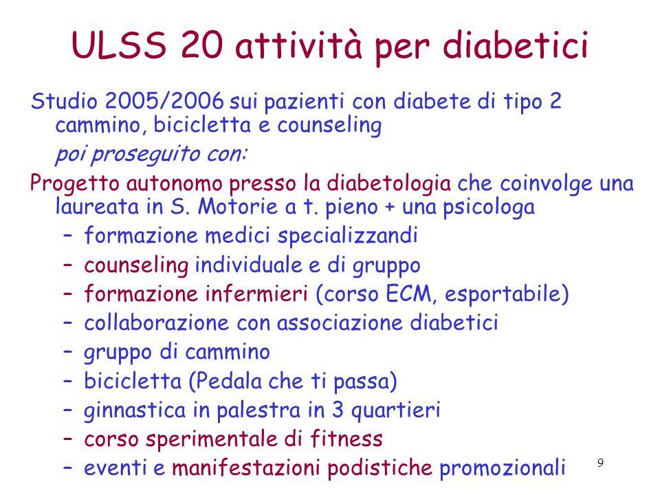 ULSS 20 attività per diabetici