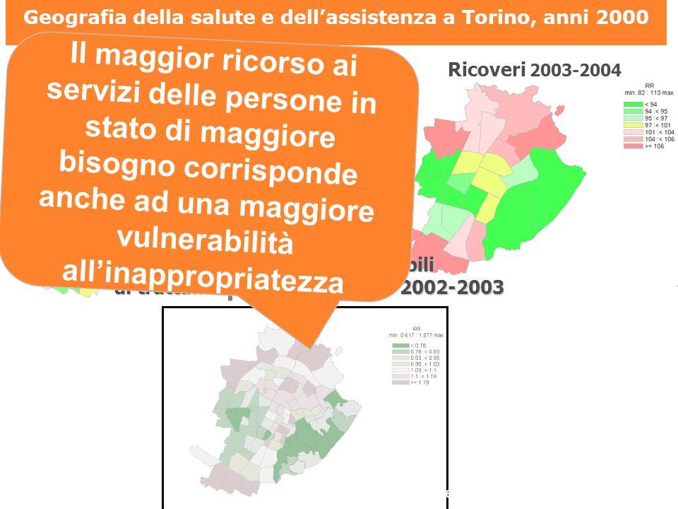 Geografia della salute e dell'assistenza a Torino, anni 2000