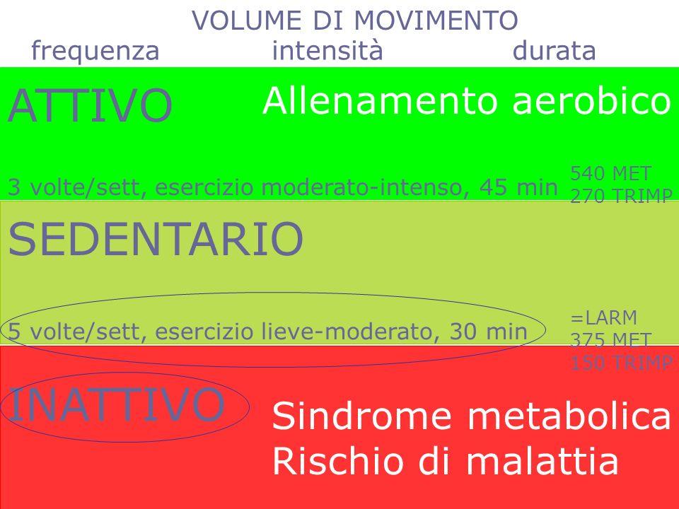 ATTIVO SEDENTARIO INATTIVO Allenamento aerobico Sindrome metabolica