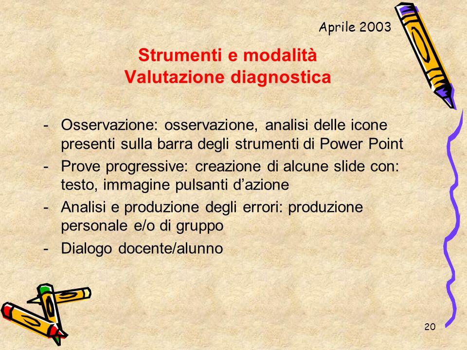 Strumenti e modalità Valutazione diagnostica