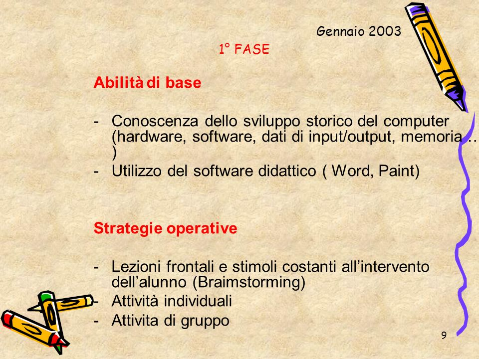 Utilizzo del software didattico ( Word, Paint)