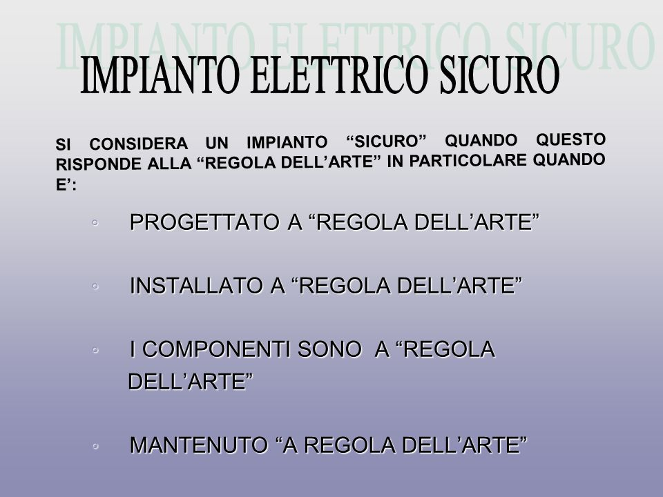 IMPIANTO ELETTRICO SICURO