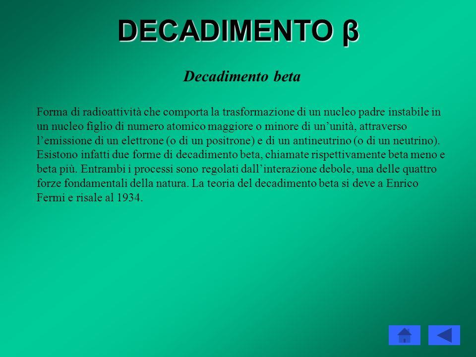 DECADIMENTO β Decadimento beta