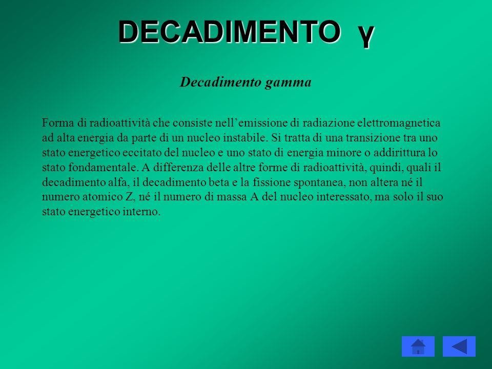 DECADIMENTO γ Decadimento gamma